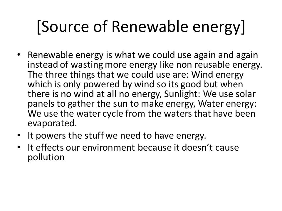 [Source of Renewable energy]